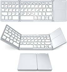Bluetooth Tastatur mit Touchpad, Jelly Comb Faltbare Dreifach Kabellos Ultra Dünn Ultra-Slim Tragbare Bluetooth 3.0 Tastatur [QWERTZ Deutsch-Layout] mit Touchpad für iOS, Android, Windows, PC