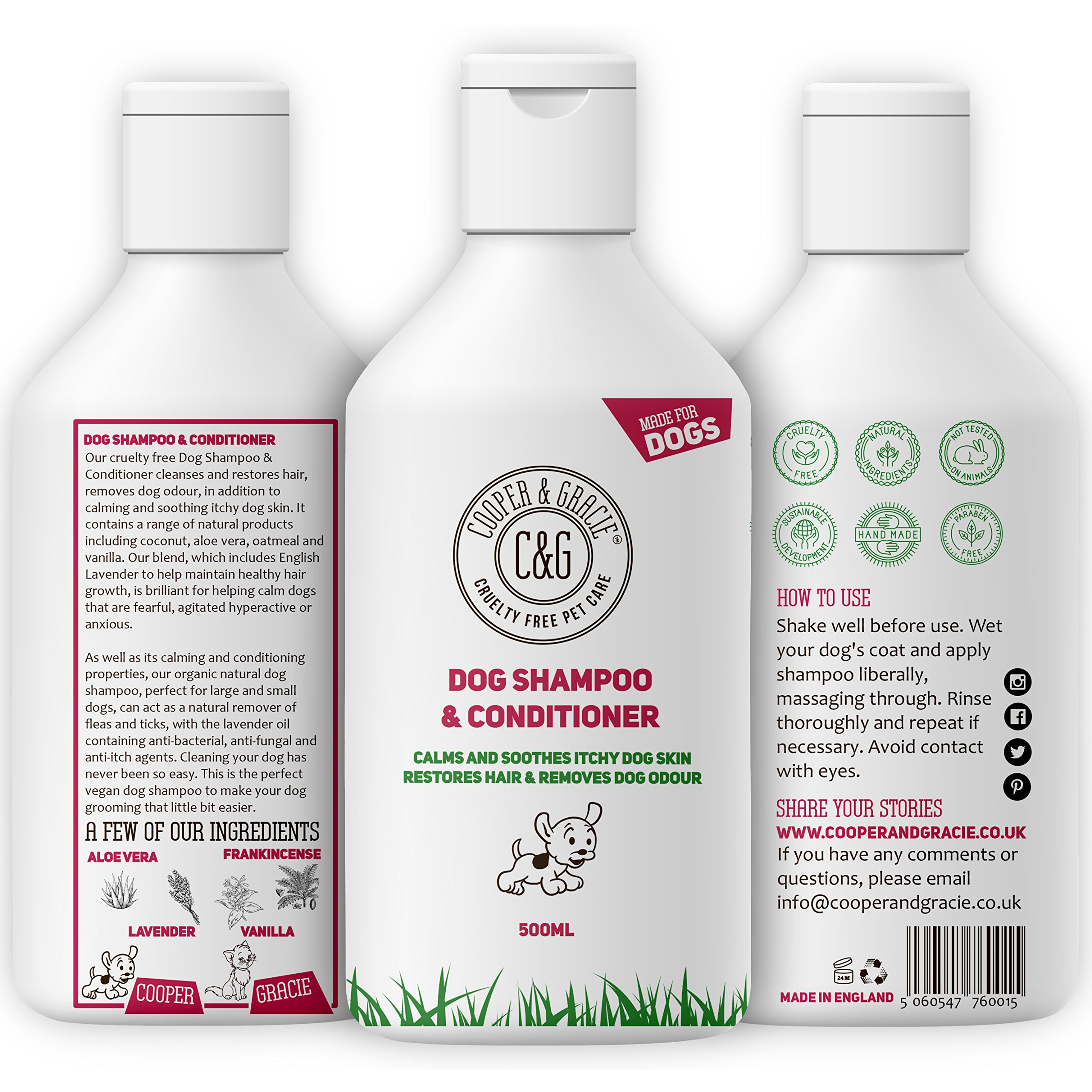 Dog Shampoo for Smelly Dogs and Itchy Sensitive Skin – Medicated Conditioner Puppy Safe – 500ml