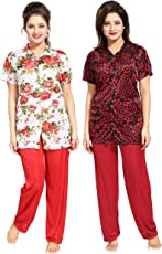 Tucute Girls Beautiful Heart print & Floral Print Pajama & Top Shirt style Nighty / Nightdress / Nightwear ( Pack of 2) ( Red and Red) 1520