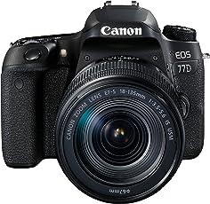 Canon EOS 77D SLR-Digitalkamera (24,2 Megapixel, 7,7 cm (3 Zoll) Display, APS-C CMOS Sensor, Full HD) kit inkl. EF-S 18-135mm 1:3,5-5,6 IS USM Objektive schwarz