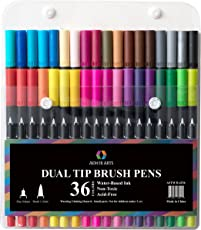 Brush Pen Dual Tip Marker Set - 36 Colors with Coloring Book and Sketch Pad - Fine Tip Pen and Brush Pen - Art Markers are Great for Bullet Journals, Creativity and Calligraphy