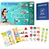 CocoMoco Kids Play Passport for Kids, Geography Educational Toy Activity Kit with Reusable Stickers and World Map for Kids, Return Gift for Kids Ages 4-11 year olds