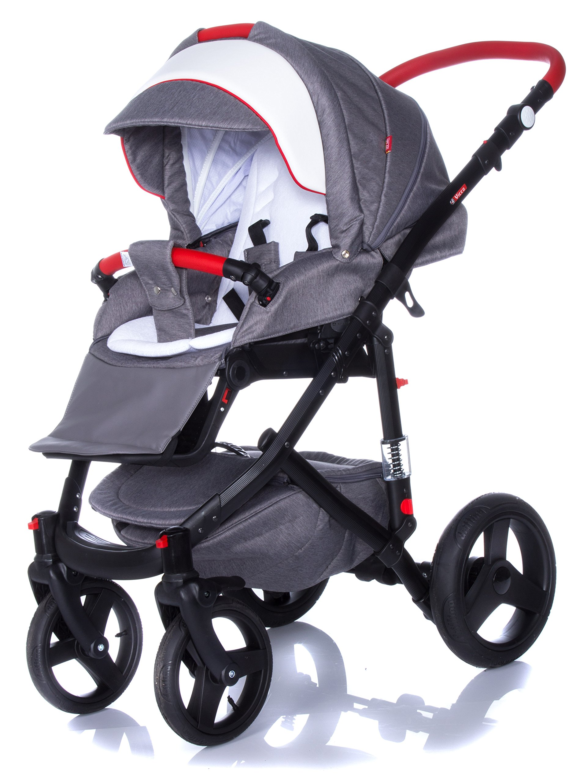 Baby Pram Pushchair Stroller Buggy Travel System Set Adamex Vicco + Baby Bag + Rain Cover + Mosquito Net + (2in1, R2 Red Graphite) Adamex Lockable swivel wheels and lockable side suspension system Light alluminium chassis with gel wheels 50% Ecco Leather and 50% Polyester shell 6