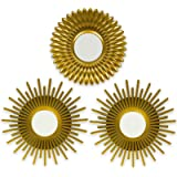 BONNYCO Wall Mirrors Pack of 3 Gold Mirrors for Living Room, Home Decor & Bedroom | Round Mirrors for Hanging and Wall…