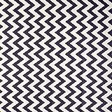 Nappe en toile cirée Vinylla en coton avec motifs à chevrons - Revêtement facile à nettoyer, Vinyle Coton, Noir , 140 x 180 c
