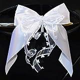 Miya@ 10 hochwertige Handgemacht Weiss Antenneschleifen mit Herzschleifen aus Satin, Auto Schleifen, Hochzeit Deko, Autoschmu