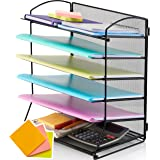 TIDYHIVE 6-Tier Letter Tray Organiser, Paper Filing Tray for Office Desk, File Holder with Stackable Filing Trays, Sticky Not