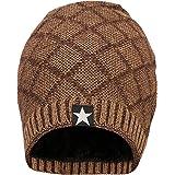 FabSeasons Woolen Winter Beanie Cap with Faux Fur Lining on The Inside
