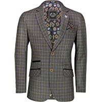 Xposed Mens Retro Tweed Check Blazer Vintage Smart Tailored Fit Suit Jacket in Brown Blue