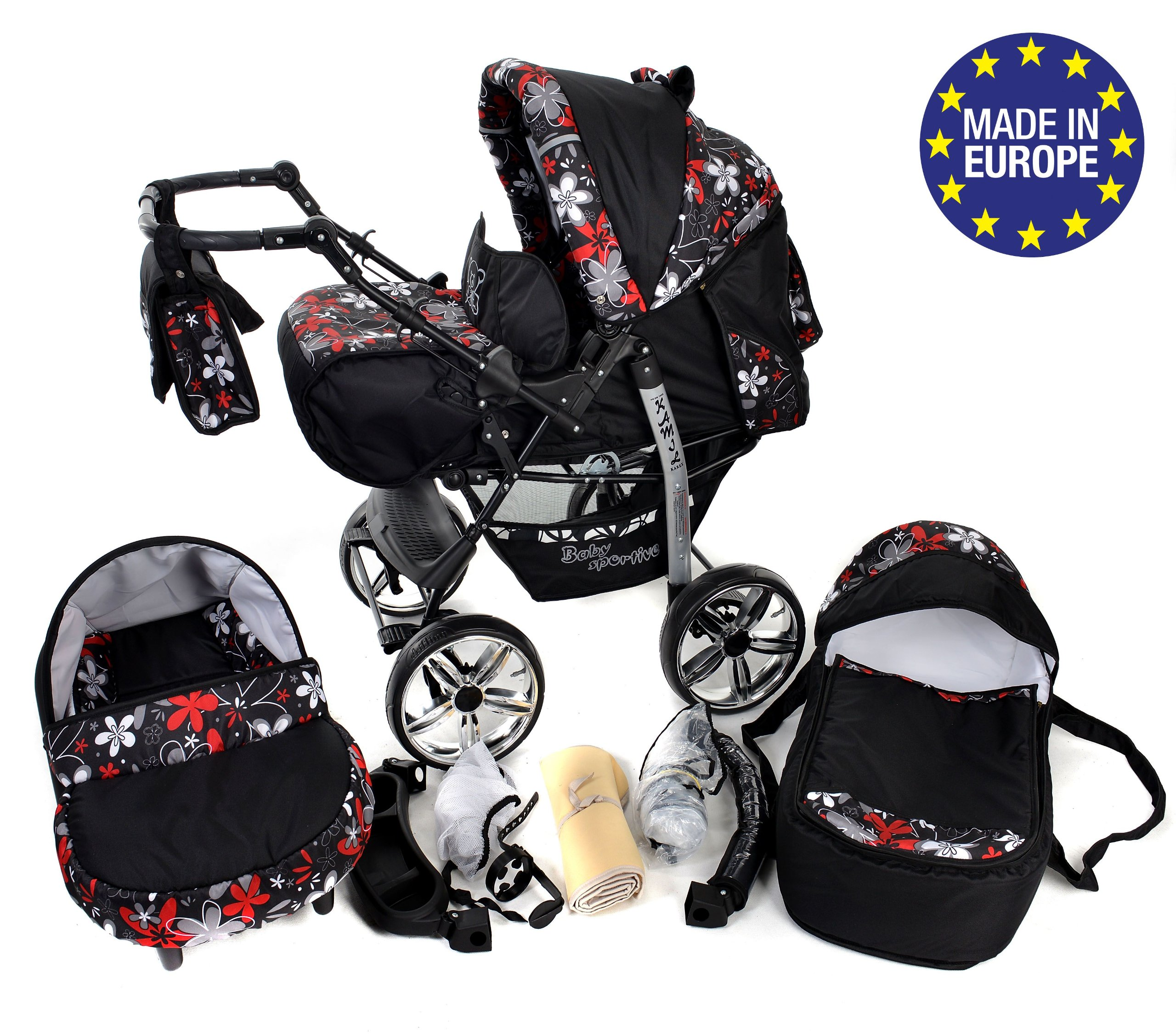 Sportive X2, 3-in-1 Travel System incl. Baby Pram with Swivel Wheels, Car Seat, Pushchair & Accessories (3-in-1 Travel System, Black & Small Flowers) Baby Sportive 3 in 1 Travel System All in One Set - Pram, Car Carrier Seat and Sport Buggy + Accessories: carrier bag, rain protection, mosquito net, changing mat, removable bottle holder and removable tray for your child's bits and pieces Suitable from birth, Easy Quick Folding System; Large storage basket; Turnable handle bar that allows to face or rear the drive direction; Quick release rear wheels for easy cleaning after muddy walks Front lockable 360o swivel wheels for manoeuvrability , Small sized when folded, fits into many small car trunks, Carry-cot with a removable hood, Reflective elements for better visibility 1
