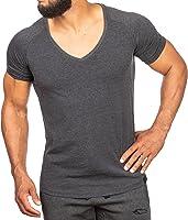 SMILODOX T-Shirt Herren mit V-Ausschnitt   Basic V-Neck für Sport Fitness Gym & Freizeit   Regular T-Shirt Kurzarm - Schlichtes Design - Leichtes Casual Shirt