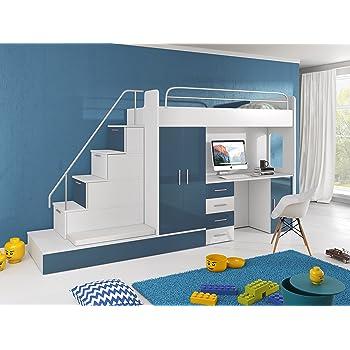 furnistad kinderzimmer komplett sun kinder hochbett mit treppe schreibtisch schrank und. Black Bedroom Furniture Sets. Home Design Ideas