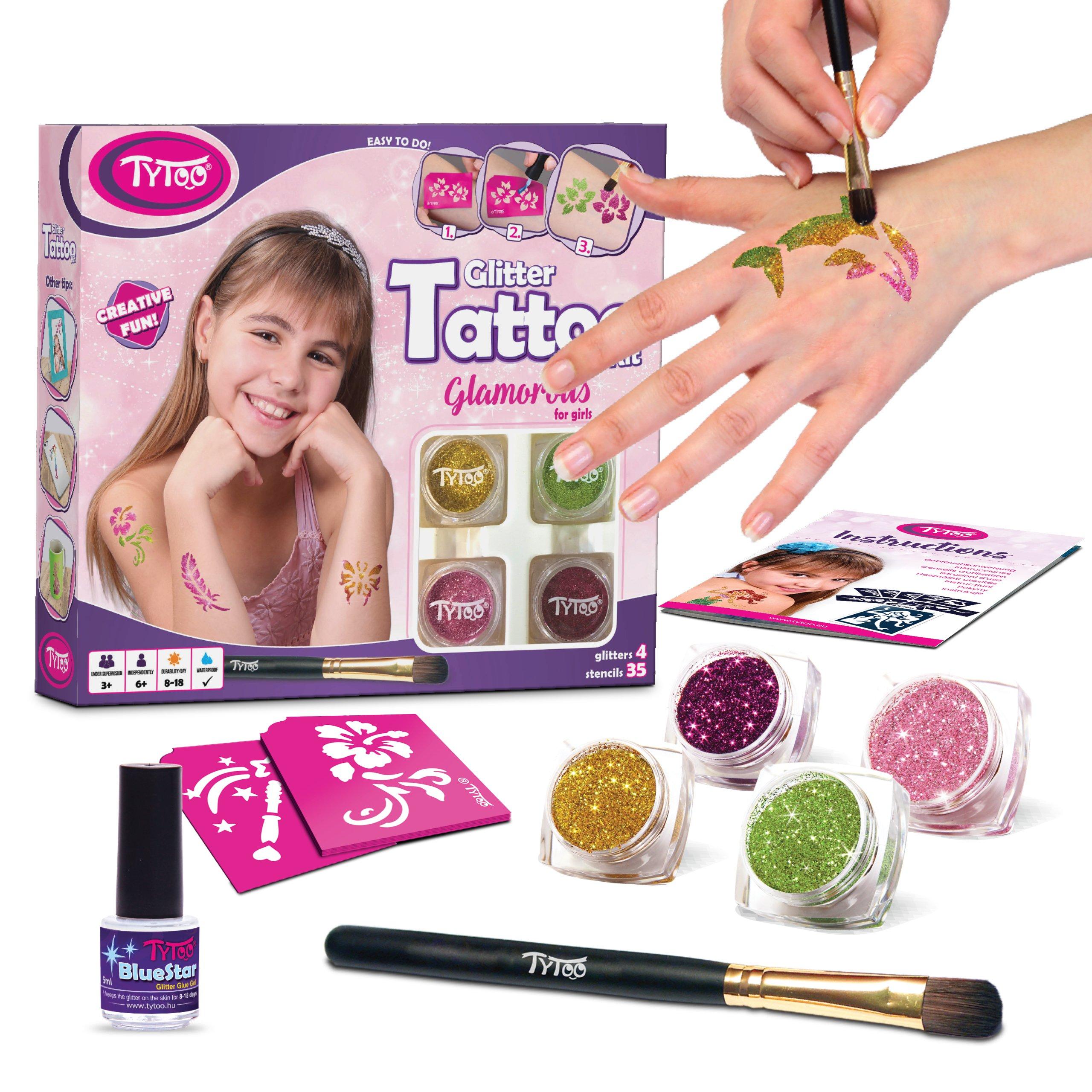 duraci/ón de 8-18 d/ías Kit de Tatuajes con Purpurina Tatuajes temporales Tatuajes con Brillantina para Chicas con 35 Plantillas Uso Seguro