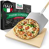 Pizza Divertimento Pierre à pizza pour four - Avec pelle à pizza en bois - Pierre pizza en cordiérite - Pour une base crousti