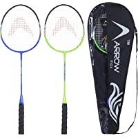 Arrowmax Badminton Racquet Set of 2 pcs for All Age Groups | Set of 2 jointless Steel Rackets for Kids and Adults…