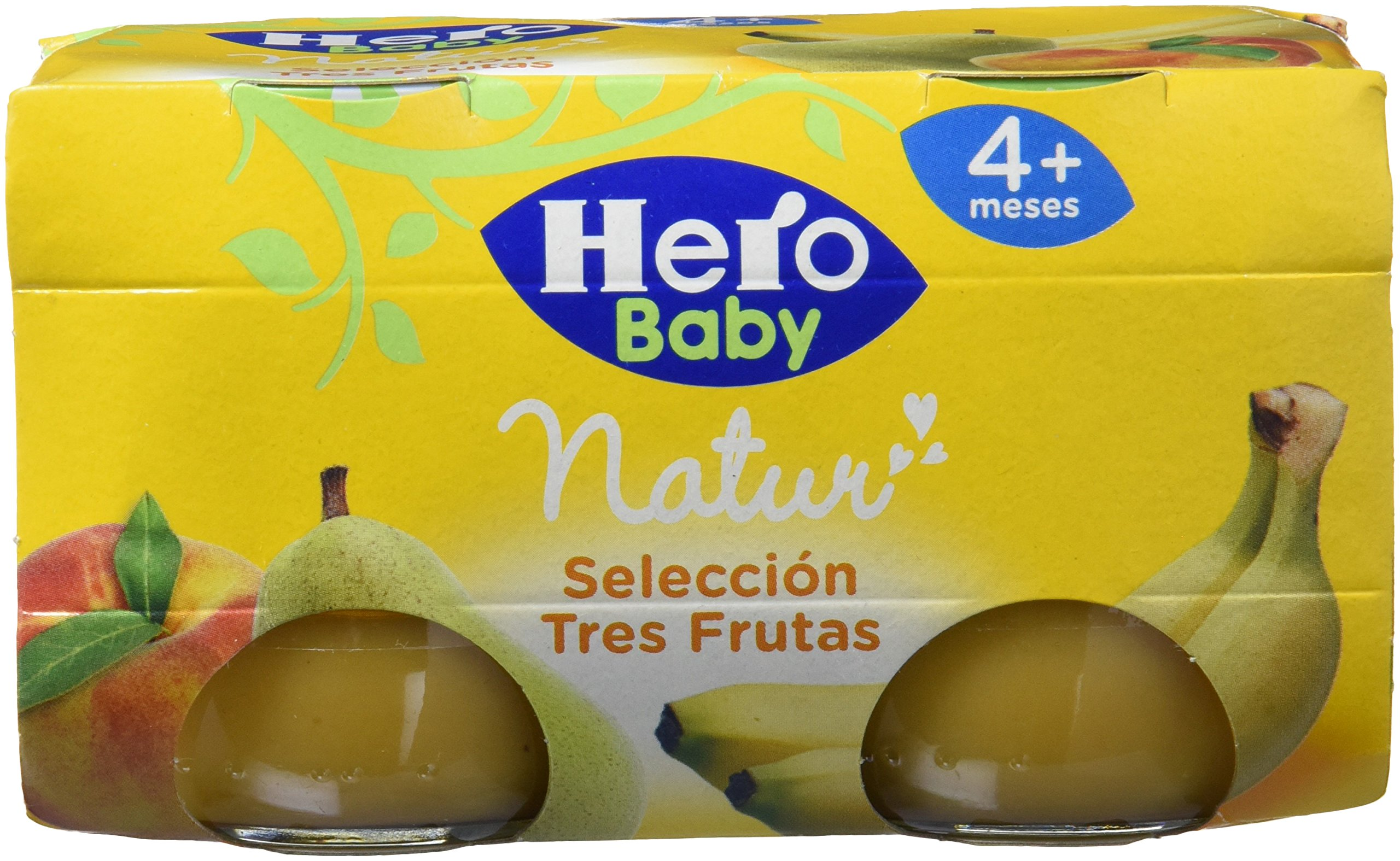 Hero Baby Tres Frutas, Tarrito de Cristal - Paquete de 2 x 120 gr - Total: 240 gr - [Pack de 6]