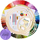 The Urban Store 207 PCS Embroidery Kit | 100 Colours Embroidery Threads | 5 PCS Bamboo Embroidery Hoops | 3 PCS Cross Stitch