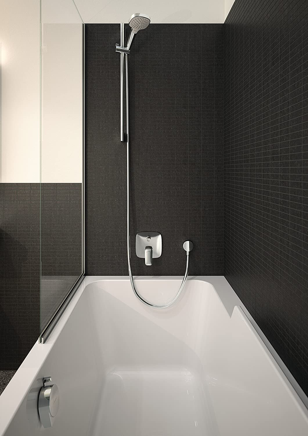 hansgrohe bathtub shower. hansgrohe logis bath and shower mixer for 2 outlets, chrome 71405000: amazon.co.uk: diy \u0026 tools bathtub 1
