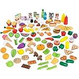 KidKraft 63330 Ensemble fruits, légumes et accessoires en plastique Tasty Treats Deluxe, dînette enfant,  jeu d'imitation, 115 pièces