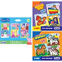 Frank Peppa Pig - 6 in 1 Puzzle for 3 Year Old Kids and Above & Frank - 10201 Travel Time Puzzle for 3 Year Old Kids and…