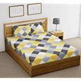 Fab Theory Diamond Stone 144 TC Cotton Double Bedsheet with 2 Pillow Covers - Checkered, Yellow