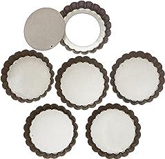 4 Zoll Mini Quiche Dosen mit Losen Base Non Stick Quiche Tart Pfannen, Hebebasis aus Stahl in Silber Farbe, Antihaftbeschichtung - Set von 6, Ø10cm