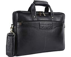 Hammonds Flycatcher Men Leather Laptop Messenger Bag LB191BLK