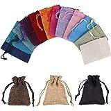 Sachets en Jute Sacs Cadeau avec Cordon, Lot de 15 Pcs Petit Multicolore Toile de Jute Pochettes pour Dragees Mariage Noël et