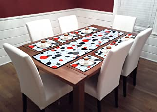 Reliable Trends Table Runner with Placemats for 6 Seater Dining Table (Abstract)