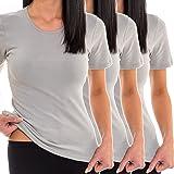 HERMKO 1800 Kit de 3 Camisetas Interiores Manga Corta para Mujer, 100% algodón orgánico