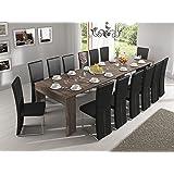 Skraut Home - Table Console Extensible avec rallonges, jusqu'à 301 cm, Salle à Manger - séjour, chêne foncé brossé. Jusqu´à 1