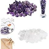 Eco-Fused Piedras de Cristal Pulidas Amatista y Cuarzo – Piedras Naturales con Formas Irregulares para Arte, Manualidades, Jo