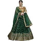 Fast Fashions Women's Net Semi-Stitched Lehenga Choli (FF-5314_Green_Free Size)