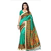 Oomph! Women's Art Silk Printed Kalamkari Sarees with Tassles