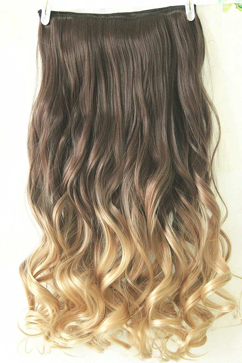 22 full head clip in hair extensions ombre wavy curly dip dye 6 22 full head clip in hair extensions ombre wavy curly dip dye 6 pcs dark brown to sandy blonde amazon beauty urmus Images