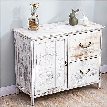 Cherry Tree Furniture Distressed White Paulownia Wood Shabby Chic