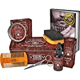 Beard Care Kit for Men- Sandalwood- Ultimate Beard Grooming Kit includes 100% Boar Beard Brush, Wood Beard Comb, Sandalwood B