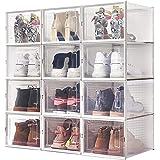 Meerveil Lot de 12 Boîtes à Chaussures Empilable, Rangement Boite Chaussure en Plastique avec Porte, 36 * 28 * 21cm, Facile à