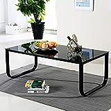 OFCASA Table basse moderne Table d'appoint Plateau en verre Meuble de salon Pieds 105x 55x 42cm (L x l x H) Noir et multi