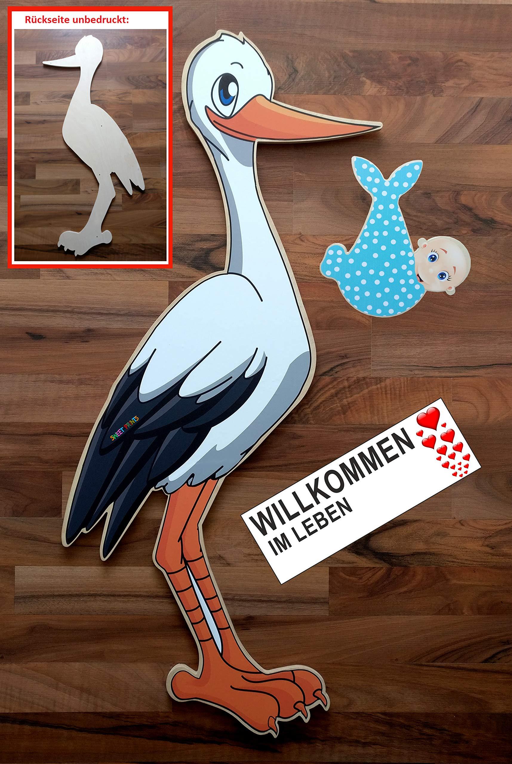 SET - 95 cm Babystorch aus HOLZ & Baby JUNGE & Beschriftungstafel für draußen Geburt Storch-Holz Klapperstorch…