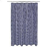 Amazon Basics - Cortina de baño con patrón en espiga - azul marino