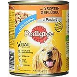 Pedigran hundfoder våtfoder med 3 sorters fjäderfän i pastet, 12 burkar (12 x 800 g)