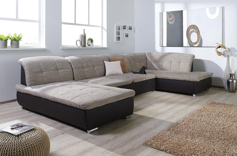 Couch u form 3m  Wohnlandschaft Farus, Couchgarnitur XXL Sofa, U-Form, braun ...