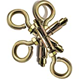 Pure Source (India) Anchor Round Close Brass Hook 8 mm Fasteners, pack of 8 Piece, Gold