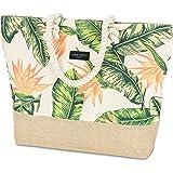 LARK STREET Strandtasche Floral Peach Beach Bag für Damen & Herren aus robustem Baumwoll Canvas & Jute - Badetasche mit Breit