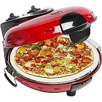 Bestron Forno elettrico per pizza con piastra in pietra, Viva Italia, Calore superiore e inferiore, 1000 Watt, Rosso