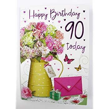 Happy 90th Birthday Greeting Card Ladies Womens Her Quality Verse Milestone Age