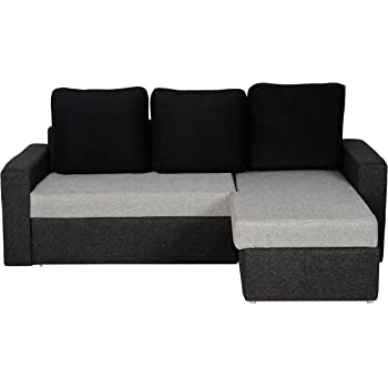 Woodstock San Marino L Shaped Sofa Cum Bed With Storage Light Grey