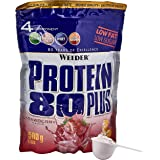 WEIDER Proteïne 80 Plus eiwitpoeder, aardbeien, lowcarb, meercomponenten Casein Whey Mix voor eiwitshakes, 500 g