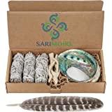 Sage Smudge Kit – Bastoncini di Salvia Bianca ~ Abalone Shell 12,5-15,2 cm ~ 5,1 cm treppiedi ~ Piuma e Sabbia Bianca
